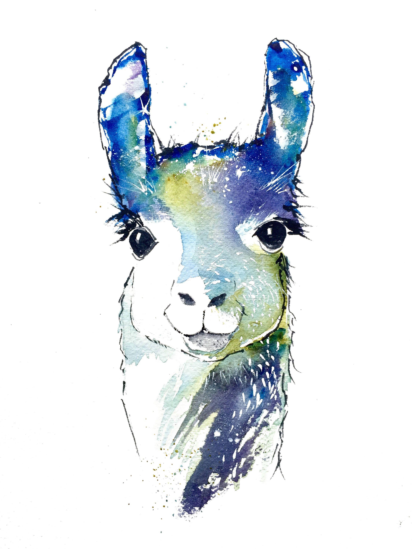 2250x3000 Llama Art, Llama Decor, Watercolor Animals, Art Print, Wall Decor