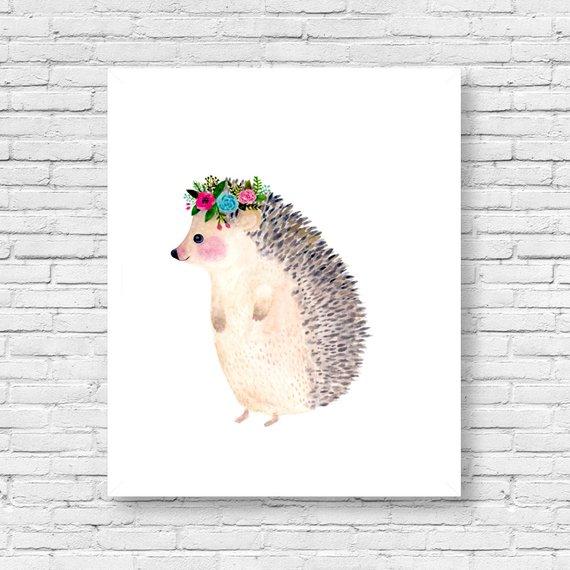 570x570 Watercolor Hedgehog Woodland Nursery Animal Paintings Cat Etsy