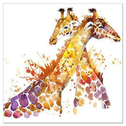 425x425 Animal Canvas Wall Art Abstract Giraffe Watercolor