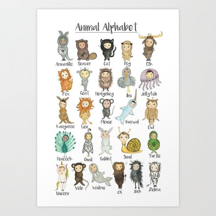 700x700 Watercolor Animal Alphabet Art Print By Pocketfolk Society6
