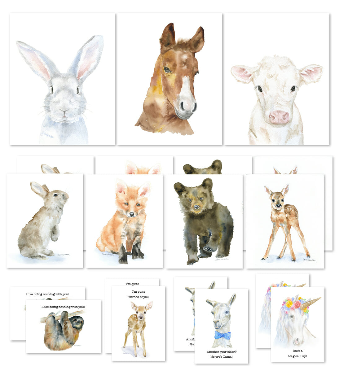 1094x1214 Watercolor Animal Prints And Cards Starter Kit Stockabl