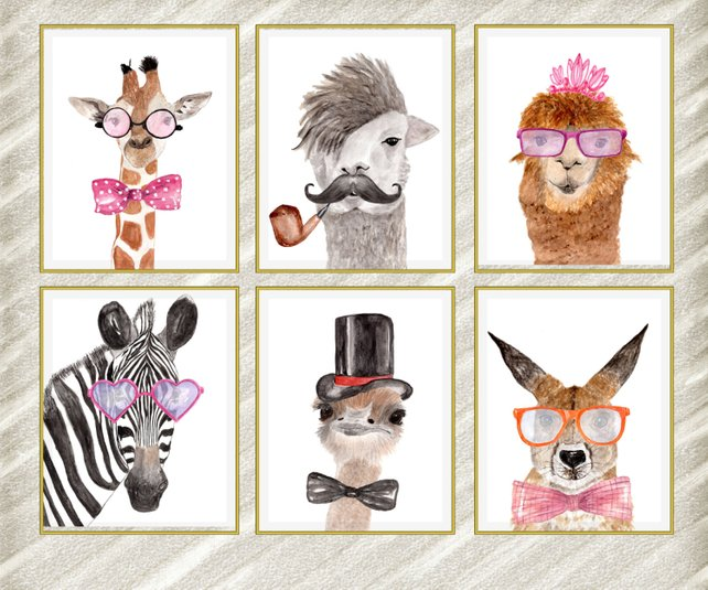 642x535 Watercolor Animal Prints Funny Animal Prints Etsy