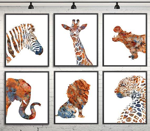 570x499 Watercolor Animals Print African Animal Art Print Jungle Etsy