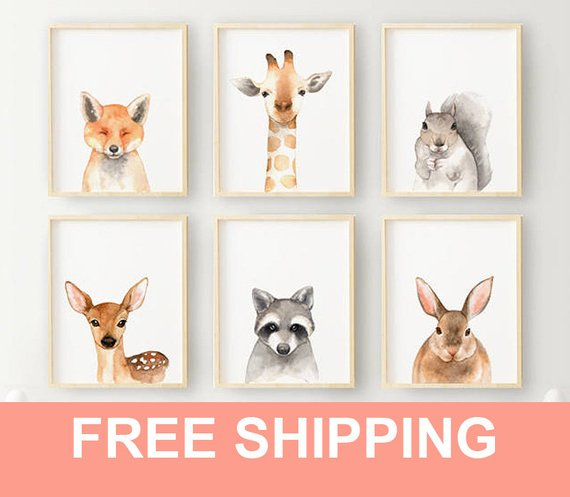 570x497 Watercolor Baby Animal Nursery Prints Watercolor Animal Etsy
