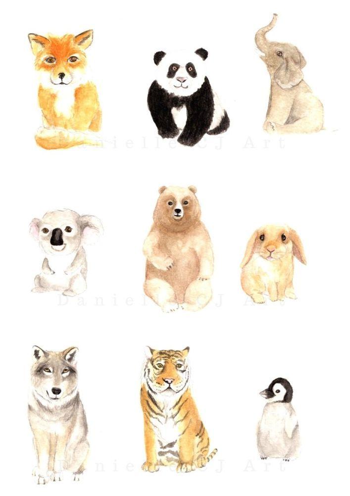 707x1000 Watercolour Animal Friends Print By Danielle Cj Art. Nursery