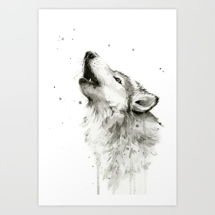 700x700 Wolf Howling Watercolor Animals Painting Black And White Art Print