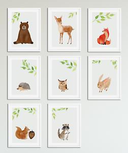 252x300 Woodland Watercolour Animal Prints For Nursery Boys Girls