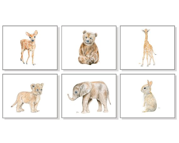 570x456 Animal Nursery Art Baby Animal Nursery Prints Animal Paintings Etsy