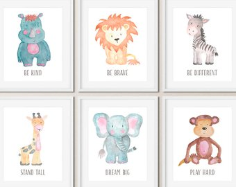 340x270 Baby Animal Nursery Wall Art Print Printable Watercolor Animal Etsy