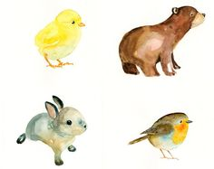 Watercolor Animals Easy