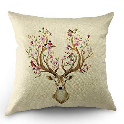 425x425 Moslion Flower Deer Pillow Cases By Watercolor Deer