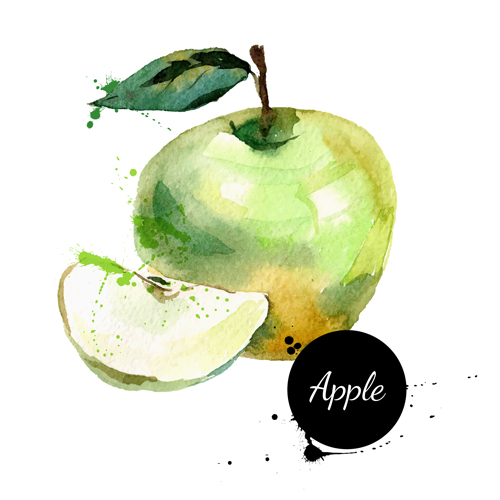 500x500 Hand Drawn Apple Watercolor Vector Free Download