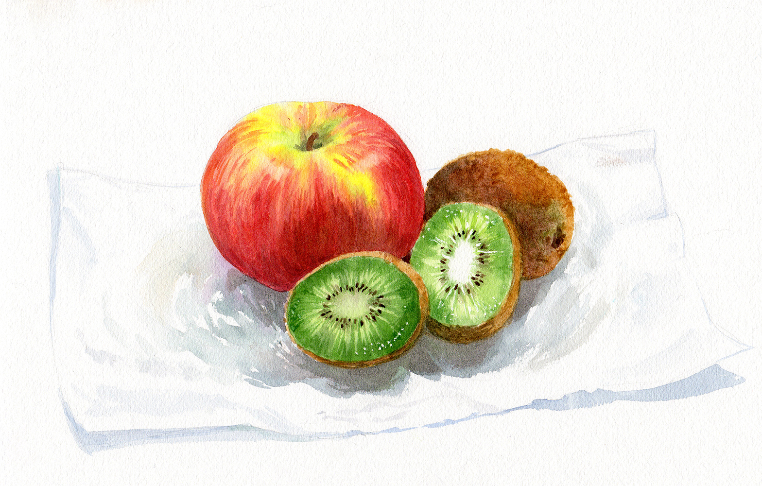 1568x1000 Painting A Watercolor Still Life An Apple And Kiwis