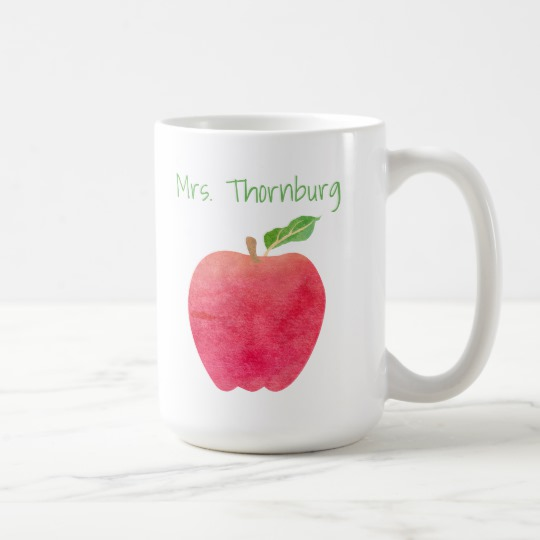 540x540 Personalized Teacher Red Watercolor Apple Teachers Coffee Mug