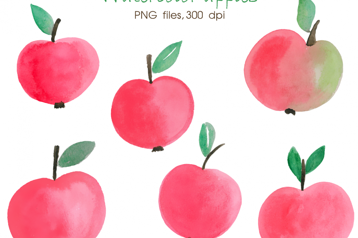 1200x800 Watercolor Apple Digital Watercolour Hand Painted Clipart