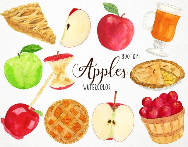 642x503 Watercolor Apple Clipart Fall Clipart Autumn Clipart Apple Etsy