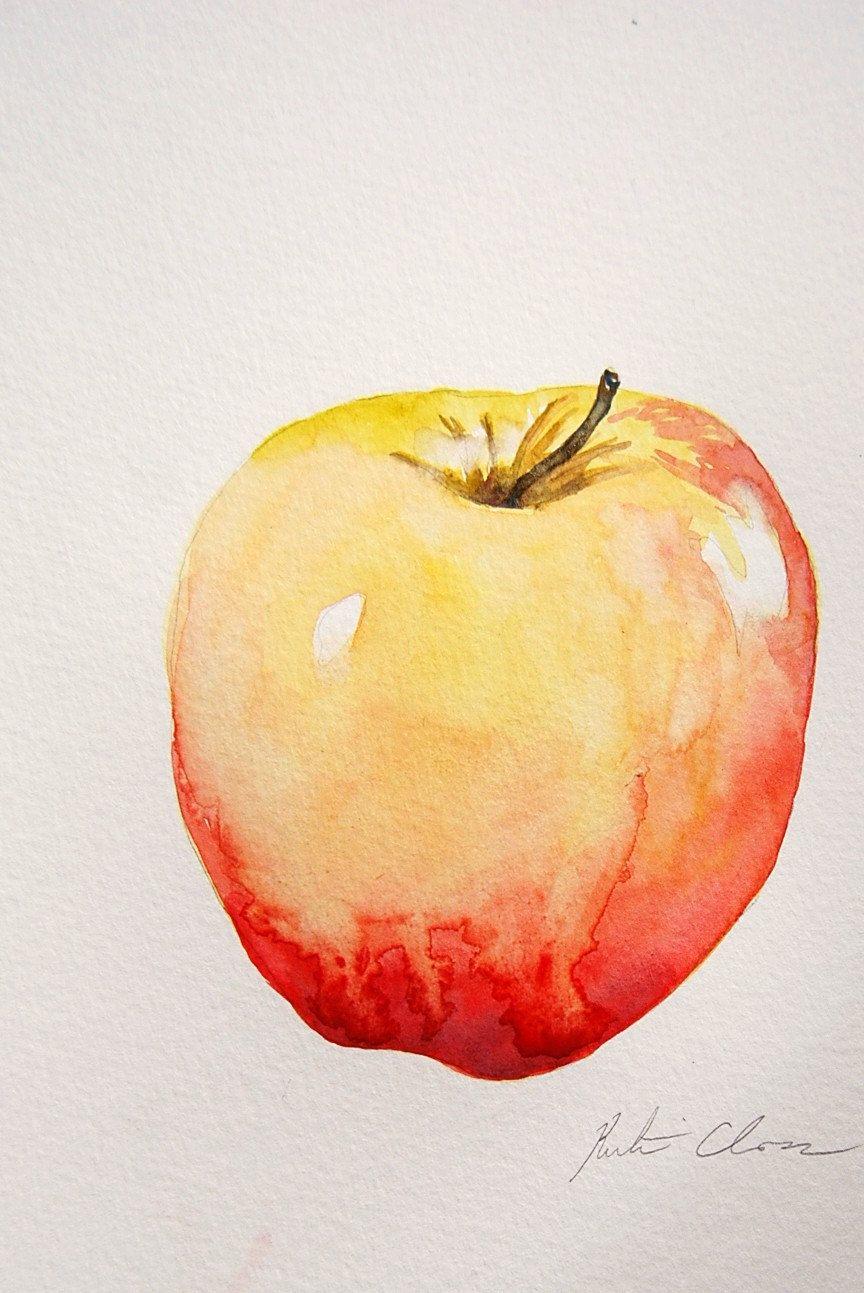 864x1293 Watercolor Painting, Apple Still Life, Original, Small Painting, 6