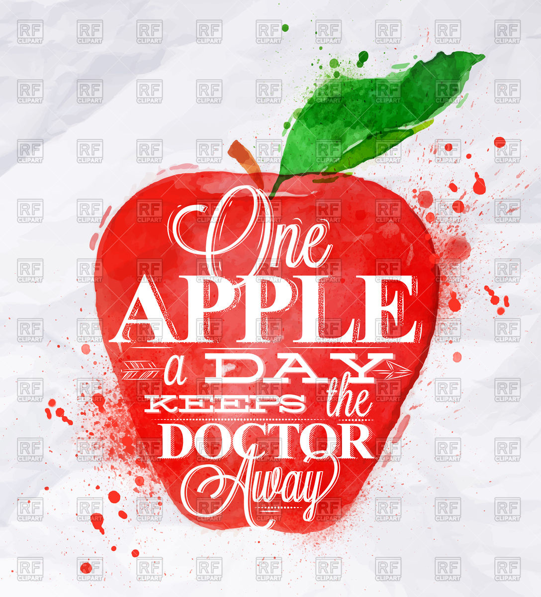 1088x1200 Watercolor Apple And Lettering One Apple A Day Keeps The Doctor