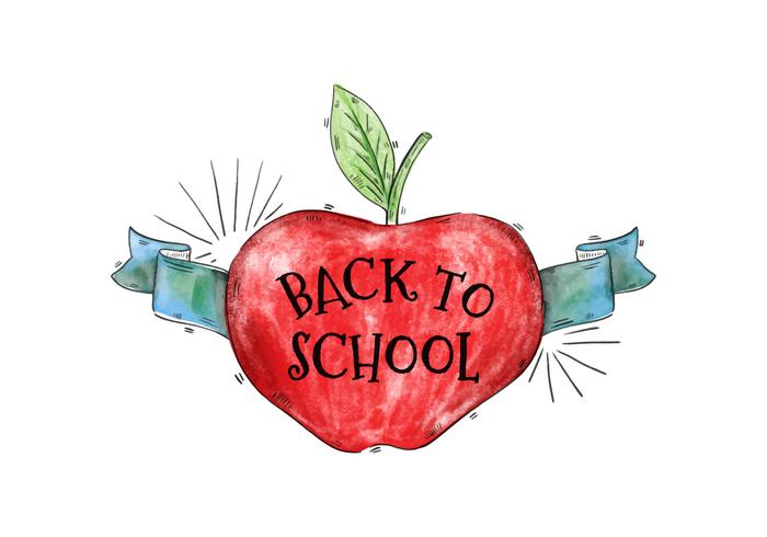 700x490 Back To School Watercolor Apple With Ribbon Vector