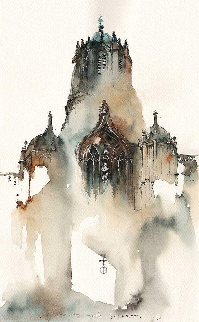 640x1035 Dreamy Architectural Watercolors By Sunga Park Watercolor, Park