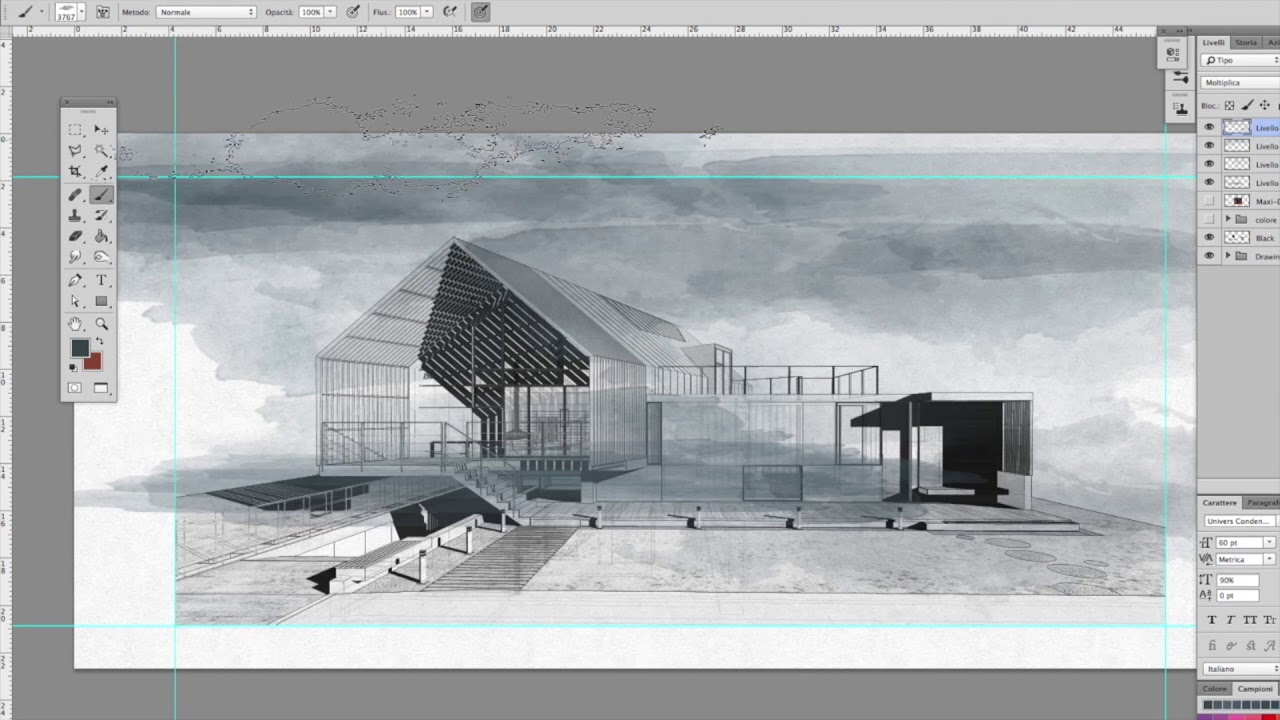 1280x720 Architecture Sketch Watercolor Effects Photoshop
