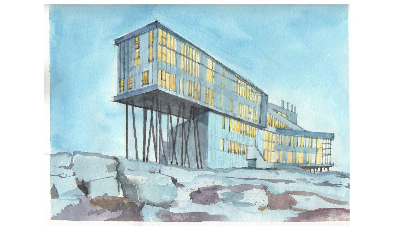 1280x720 Fogo Island Inn Watercolor Sketch