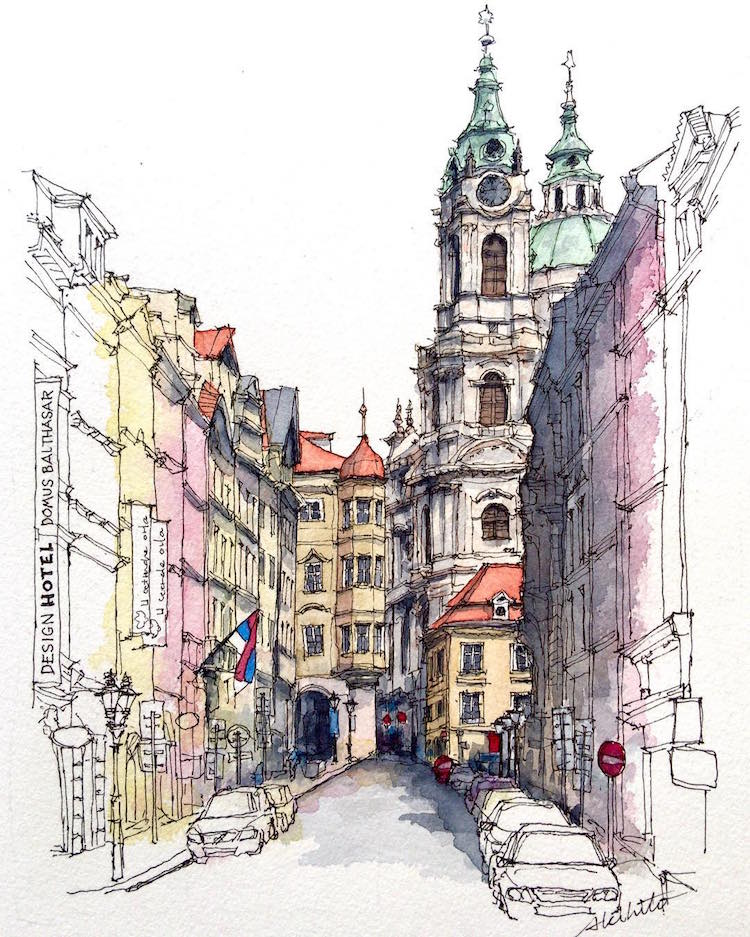 750x937 Watercolor Paintings Of International Architecture By Artist With