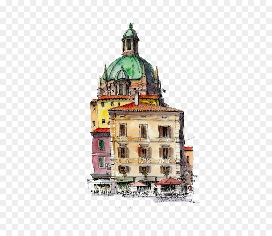 900x780 Watercolor Painting Drawing Architecture Sketch