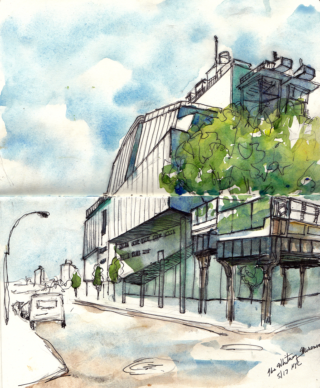 1214x1470 Urban Sketching Nyc Whitney Museum Architecture Sketching