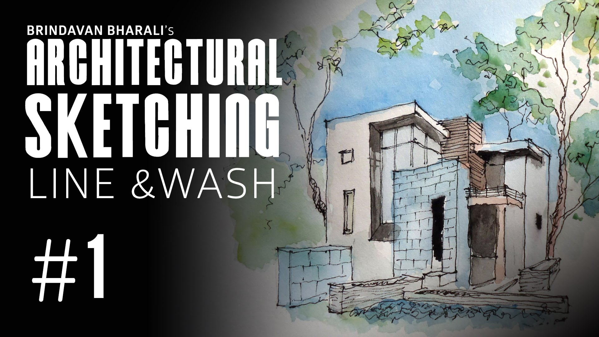 1920x1080 Architectural Sketch Watercolour Line And Wash By Brindavan