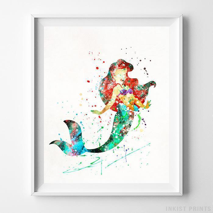 699x699 Ariel The Little Mermaid Wall Art Disney Watercolor Poster Home