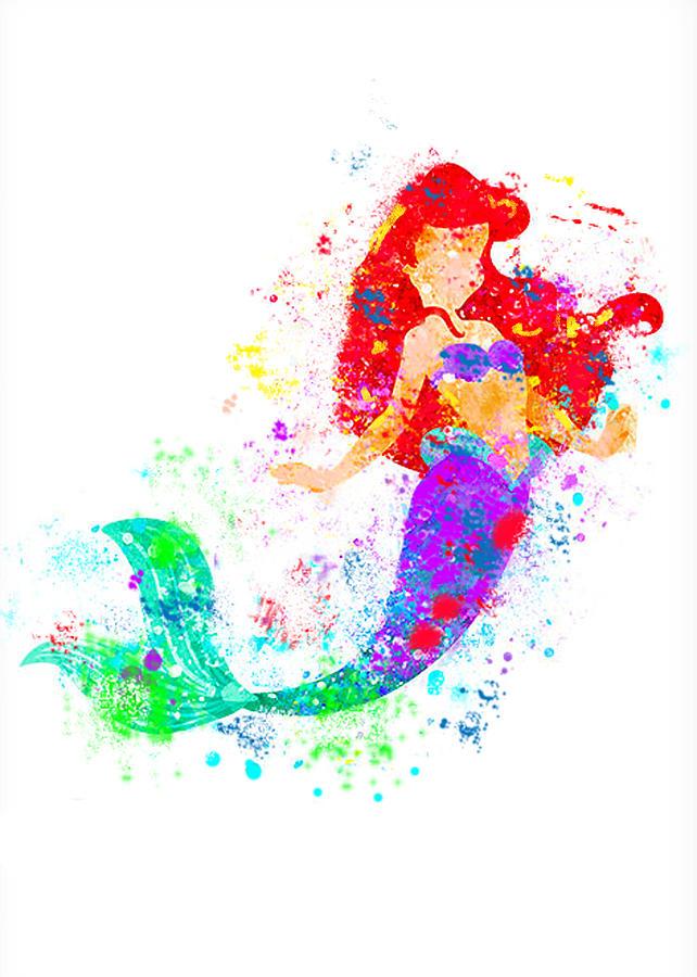 642x900 Disney Ariel Little Mermaid Watercolor Digital Art By Midex Planet