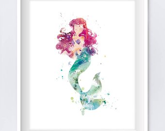 340x270 Disney Princess Ariel Watercolor Disney Art Nursery Ariel