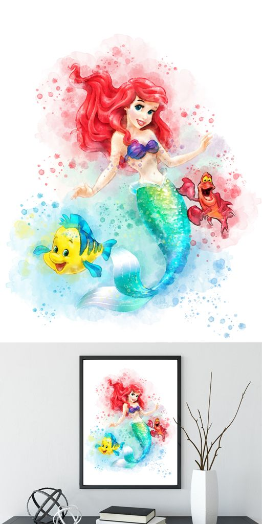 512x1024 Disney Princess Print, Little Mermaid Ariel, Watercolor Art