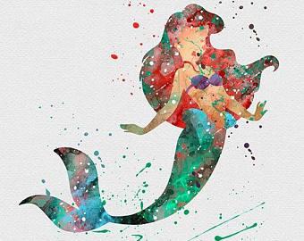340x270 Watercolor Ariel Etsy