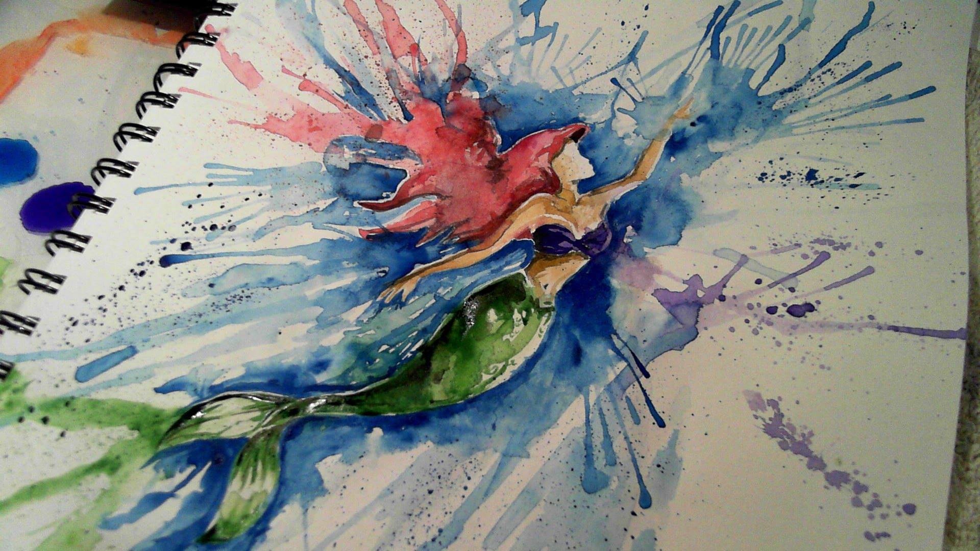 1920x1080 Watercolour Ariel Painting