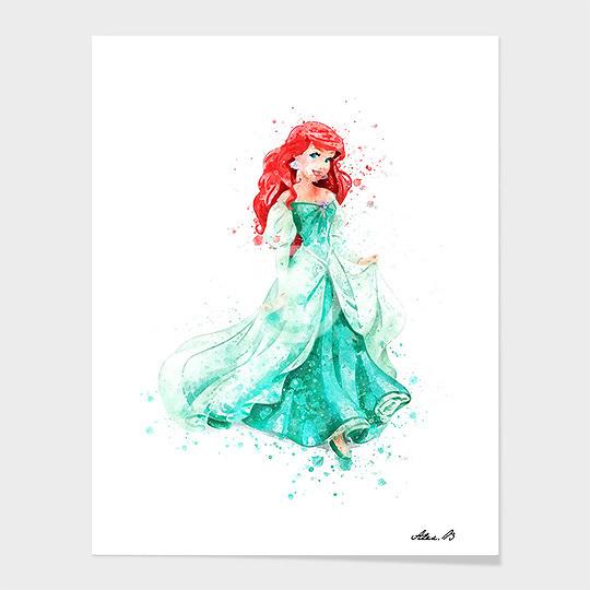 540x540 Ariel Mermaid Disney Princess Watercolor Art Print