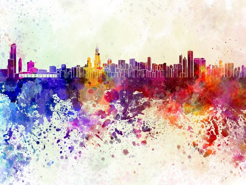 800x600 Chicago Skyline In Watercolor Background Stock Photo Colourbox