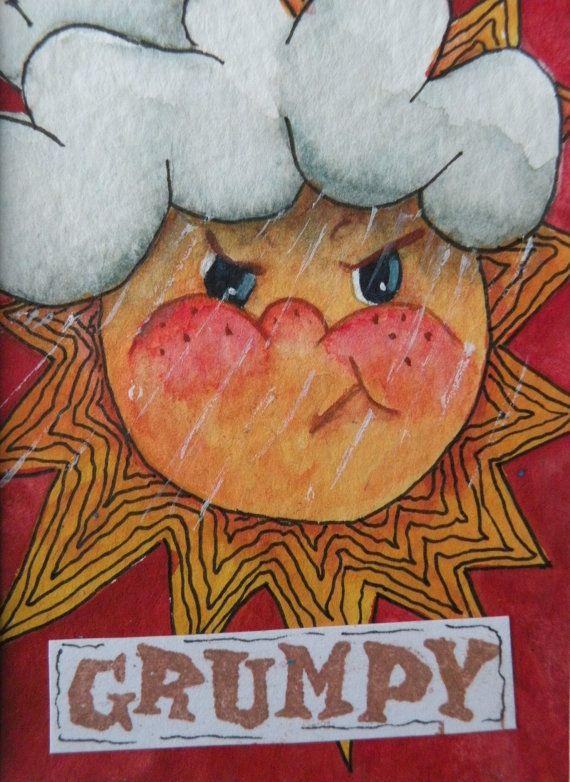 570x782 Watercolor Painting Original Art Card Of Sun Original Painting
