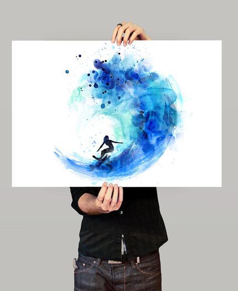 491x600 Surf Watercolor Art, Surf Print, Watercolor Painting, Watercolor