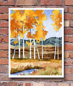 Watercolor Aspen Trees