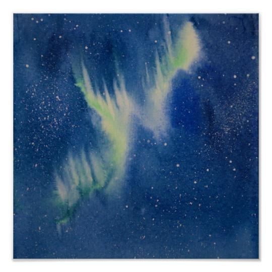 540x540 Aurora Borealis Watercolor Painting Poster Zazzle.ca