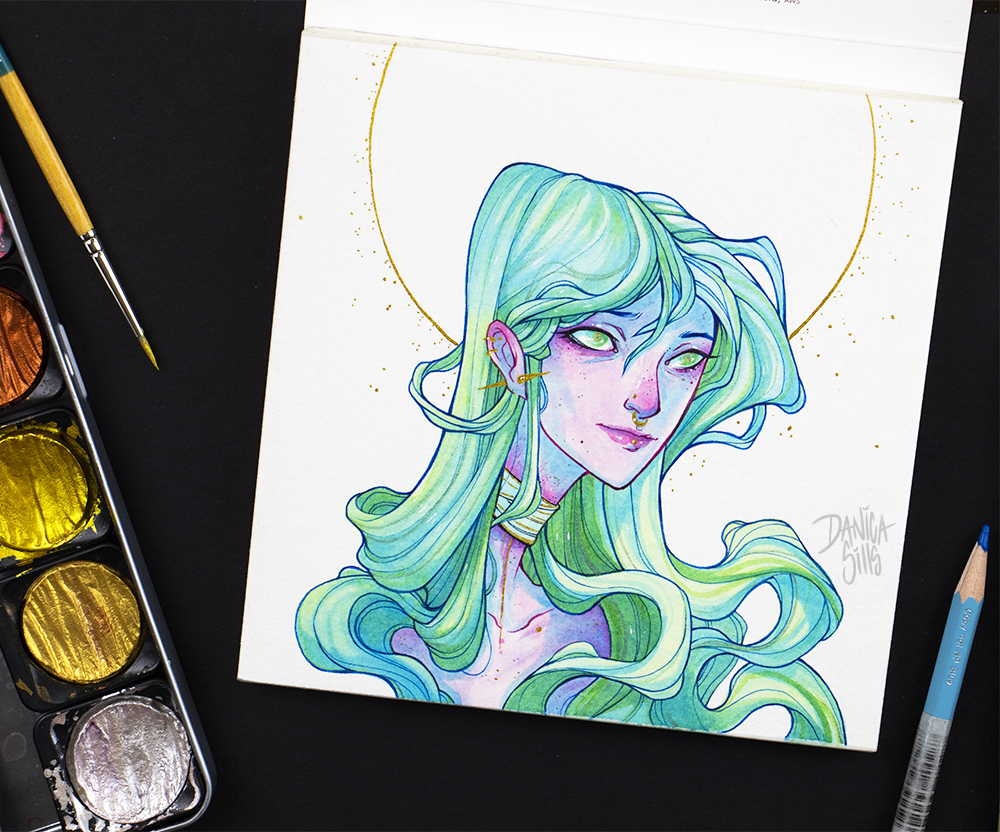 1000x832 Aurora Original Watercolor Painting Danica Sills Online