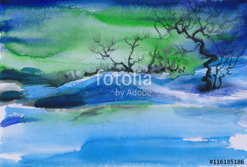 500x339 Beautiful Aurora Winter Landscape With Frosted Trees And Snowy