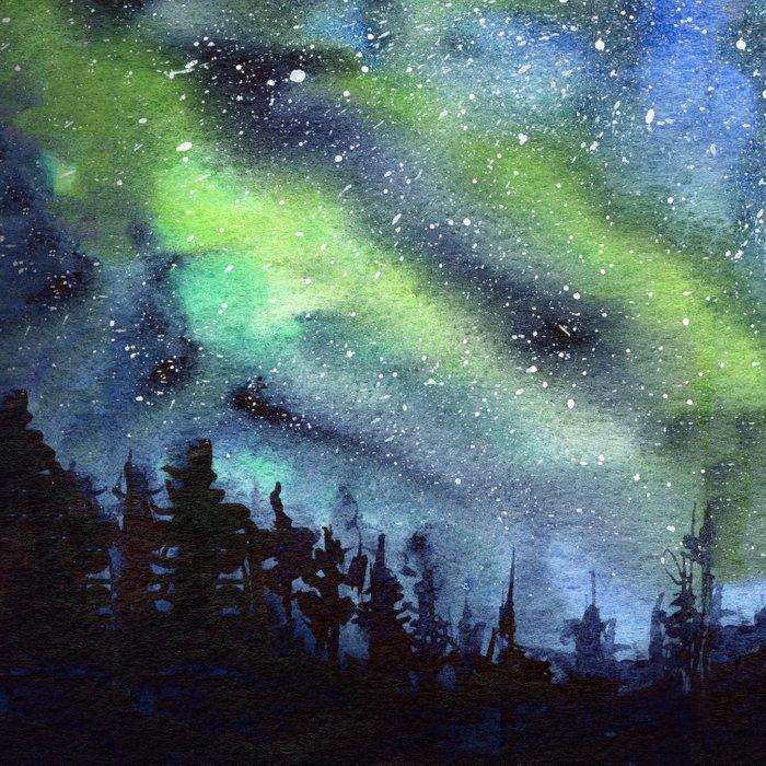 700x700 Galaxy Nebula Watercolor Northern Lights Aurora Borealis