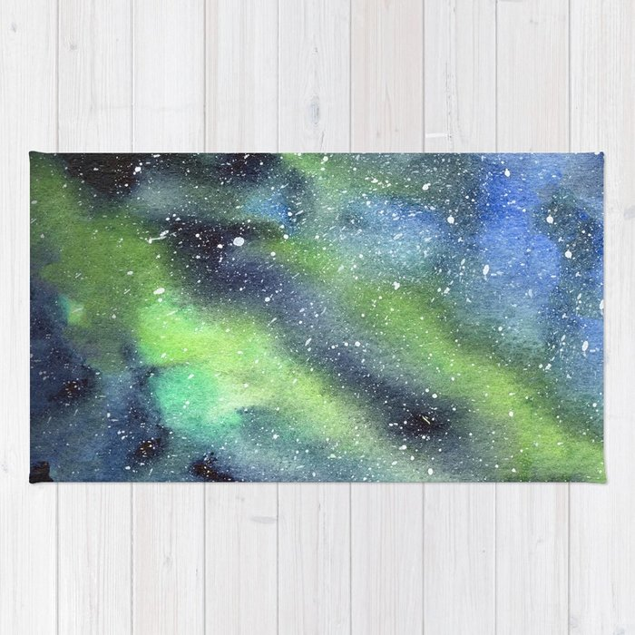 700x700 Galaxy Nebula Watercolor Northern Lights Aurora Borealis Rug By