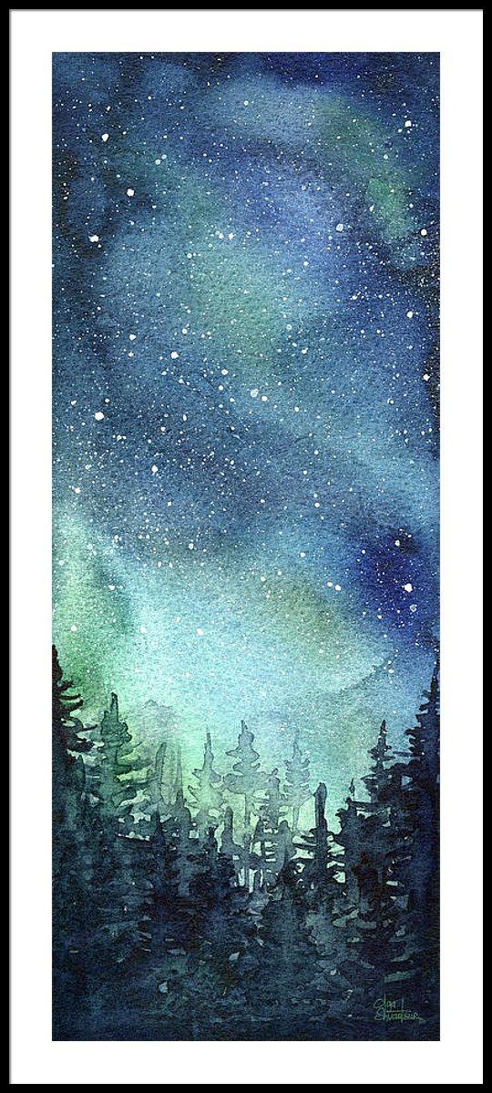 540x1200 Galaxy Watercolor Aurora Painting Framed Print By Olga Shvartsur