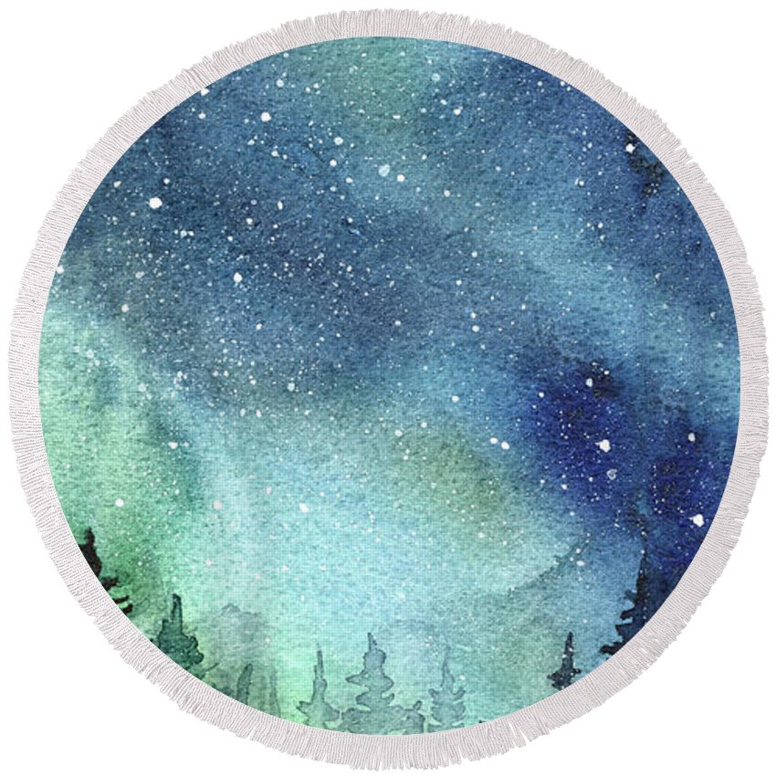 850x850 Galaxy Watercolor Aurora Painting Round Beach Towel For Sale By