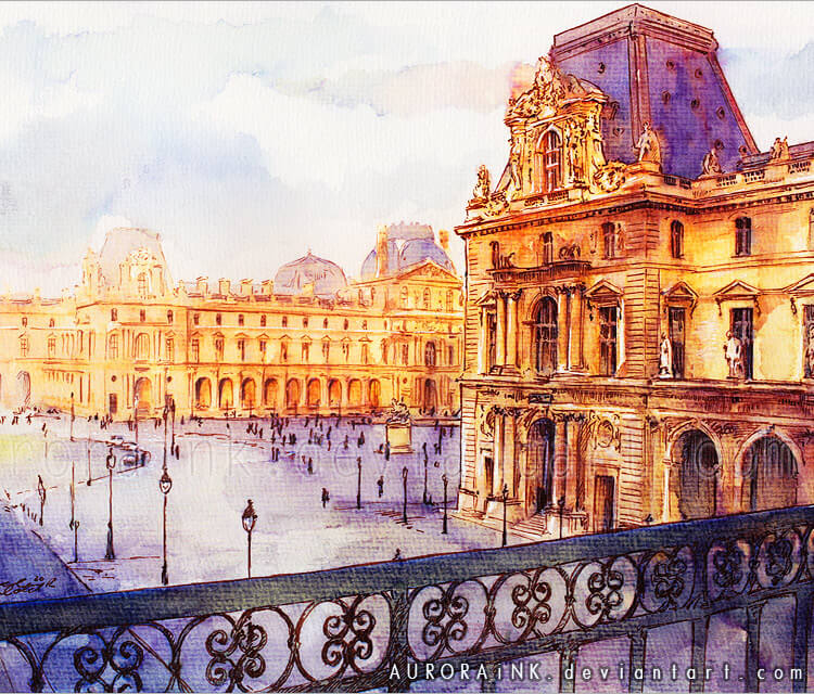 750x640 Louvre Watercolor Painting By Aurora Wienhold No. 2417