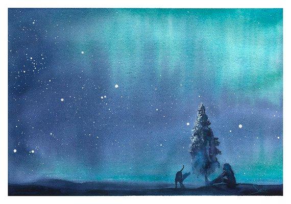 570x400 Northern Lights Watercolor Aurora Borealis Painting Night Etsy